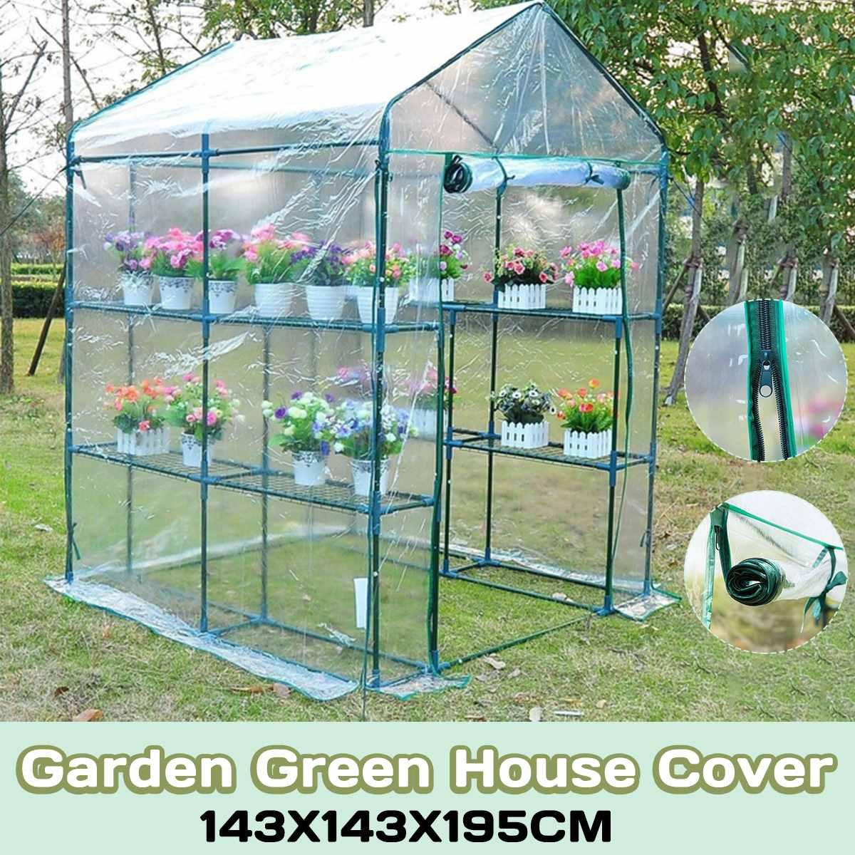 Serre Portable 3 niveaux 6 étagères couverture PVC jardin couverture plantes maison de fleurs imperméable résistant à la Corrosion 143X143X195 cm