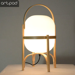 Japońska naturalna drewniana szklana lampa stołowa lampka nocna do sypialni E27 LED lampa stojąca światło do salonu Study Tabletop Lighting