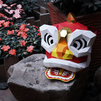 Chinese Style Lion Head Mask Party DIY Full Face Paper Animal Mask Scary Halloween Makeup Dance Party Birthday Favor 2018 New