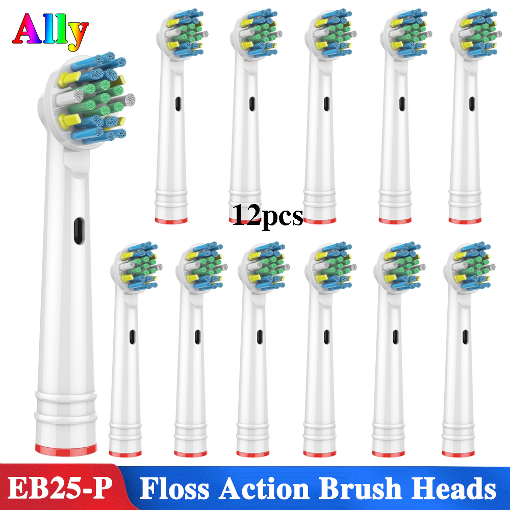 12PCS EB25 For Oral B Floss Action Replacement Brush Heads For Braun Oral B Triumph Vitality D100 D32 Electric Toothbrush Heads image