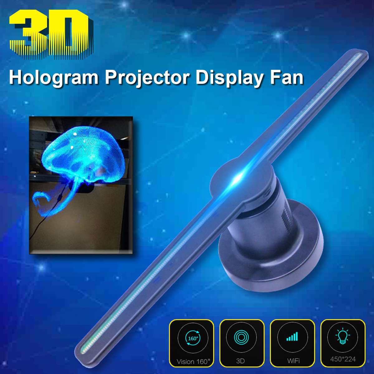 3D Hologram Advertising Display LED Fan Holographic Imaging 3D Naked Eye LED Fan light 3d Display