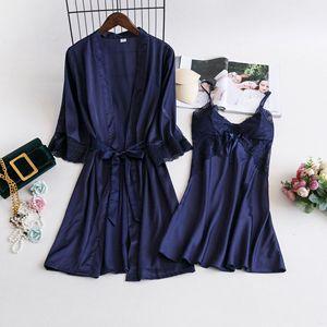 Image 2 - MECHCITIZ damska suknia ustawia 2 sztuka koszula nocna szlafrok lato bielizna nocna kobiet satynowe Kimono jedwabne szaty piżamy salon garnitur