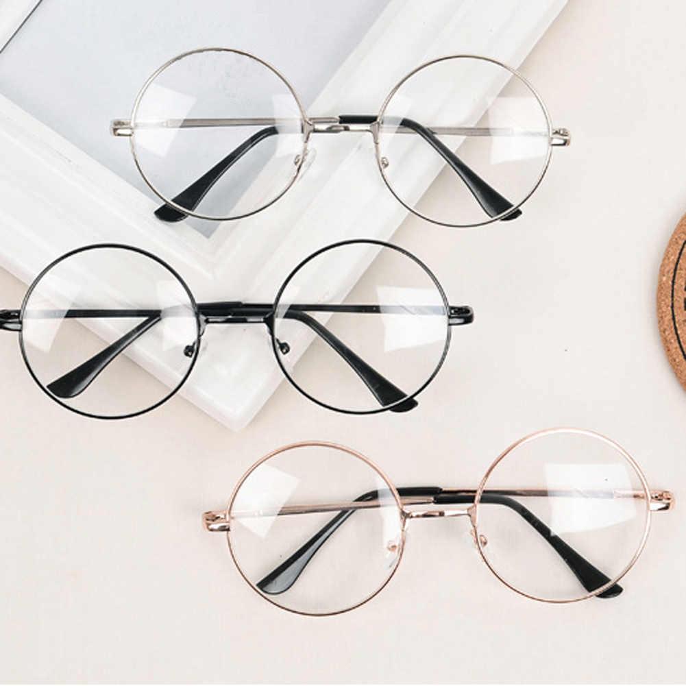 Moda Vintage metalowa oprawa Retro okulary z przezroczystymi szkłami Nerd Geek okulary okulary ponadgabarytowe okrągłe koło okulary