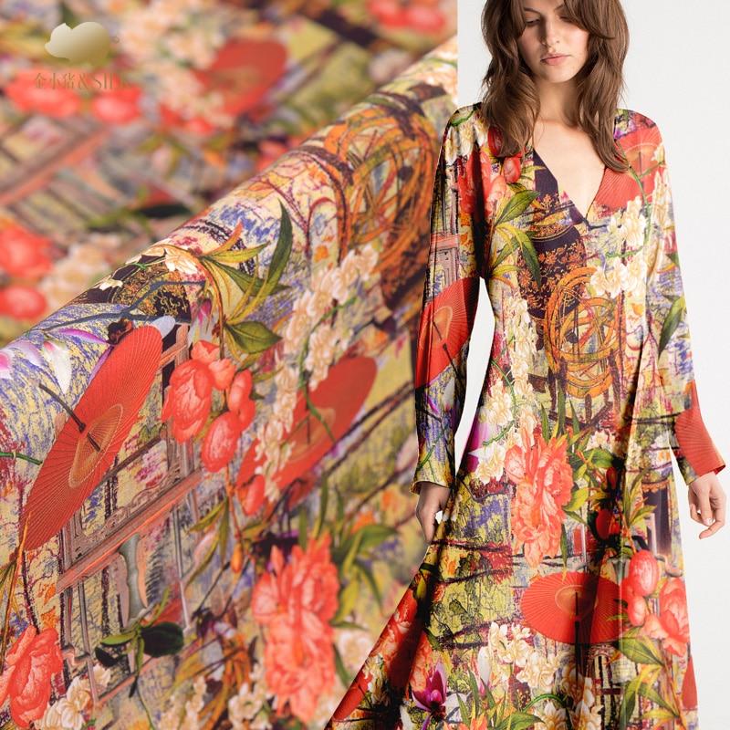 40mm heavy crepe silk fabric luxury digital inkjet drapes cheongsam dress silk stretch fabric wholesale silk