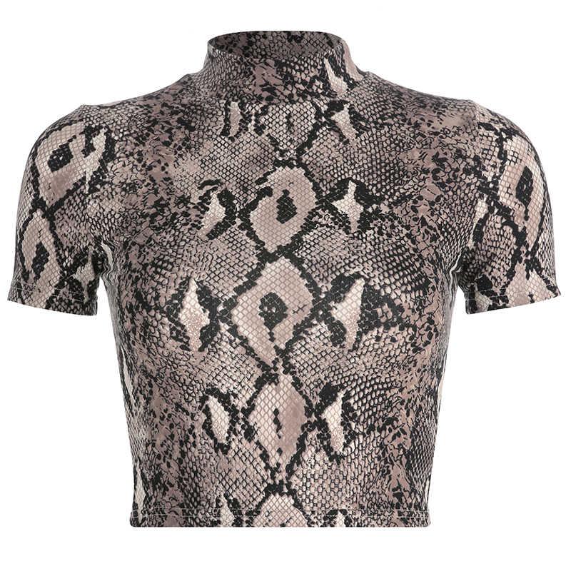 SUCHCUTE, tops cortos con estampado de serpiente de manga corta, camisetas para mujer, primavera 2019, cuello alto, estiramiento básico, camiseta Casual con estampado Animal