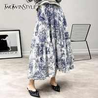 TWOTWINSTYLE Vintage Print Rokken Voor Vrouwen Hoge Taille Hit Kleur Midi Elastische Rokken Vrouwelijke Oversized Lente 2019 Casual Mode