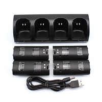 Livraison directe et gratuite! Offre spéciale noir 4x batterie Rechargeable + Quad 4 chargeur Station d'accueil Kit pour télécommande Wii