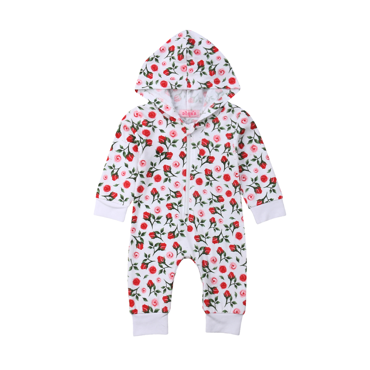 0-18 Mt Infant Neugeborenen Baby Junge Mädchen Lange Sleeve Zipper Mit Kapuze Floral Body Overall Overall Outfits Baby Kleidung