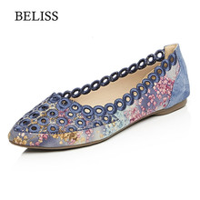BELISS Spring Loafers Women Flats Shoe Embroider Pointed Toe Slip On Casual Shoes Female Hollow Moccasins Ladies P39