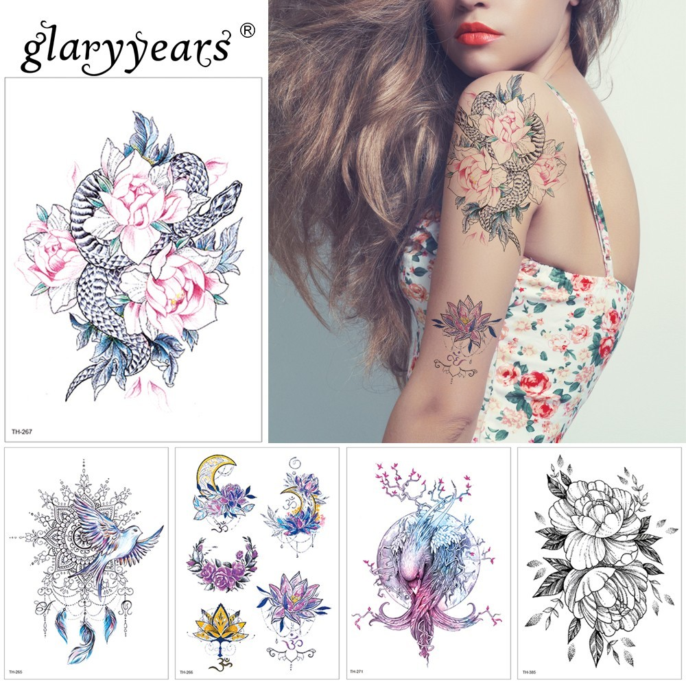 3775c6c9a1510 glaryyears 1 Sheet Temporary Tattoo Sticker Hot Fake Tatoo Bird Flash Tatto Waterproof  Small Body Art Men Women TH Link 07