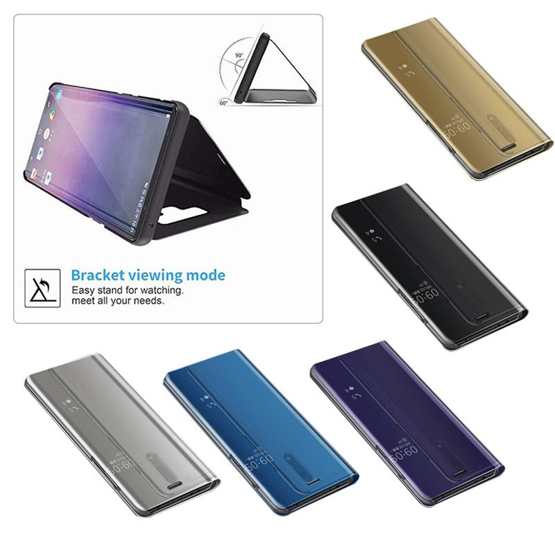 Image 5 - Innovative Protective Case Flip Leather Cover Plating Mirror Curved Stand Anti Collision Smart Phone Back Protector For Huawei-in Screen Protectors from Consumer Electronics