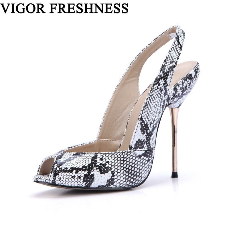 VIGUEUR FRAÎCHEUR Haute Talons Sandales Femme Chaussures D'été Femmes Parti Dames Chaussures Sexy Serpent PU Sandalia Feminina Peep Toe CG10