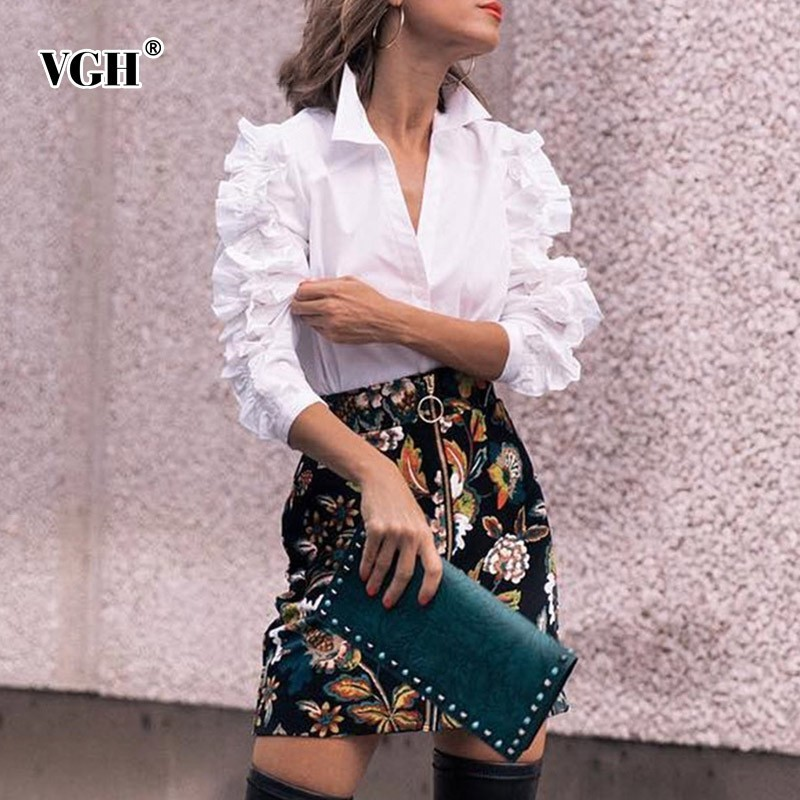 VGH Spring Women   Blouse     Shirt   Top Female Butterfly Sleeve Lapel Slim White Female Plus Size   Shirt   2019 Fashion New Tide