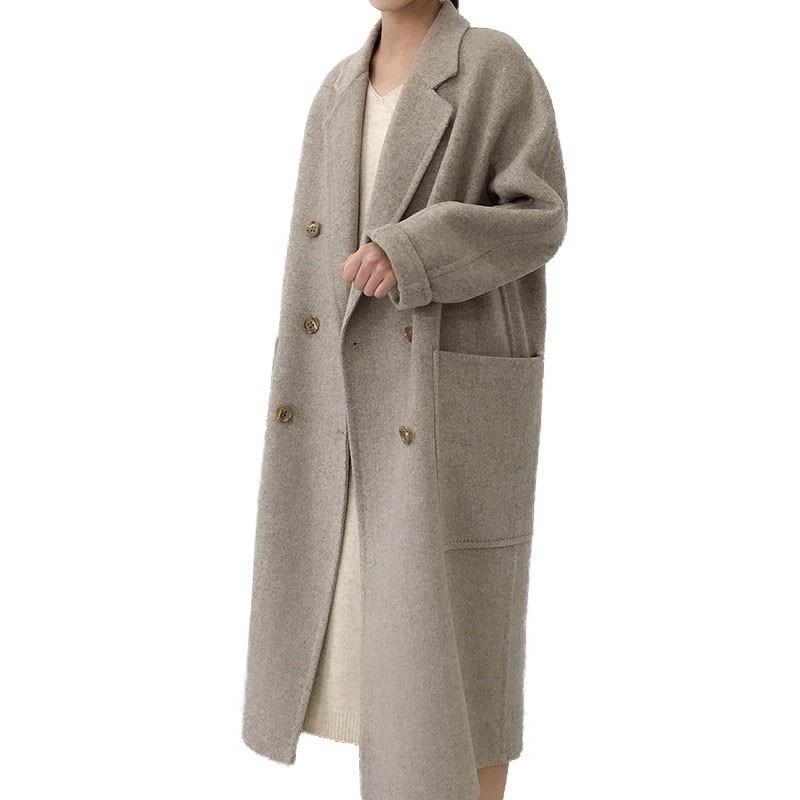 Hiver Femme veste manteau Femme 2018 Long épais Double face laine coupe-vent femmes mince pardessus cachemire manteaux Femme Mujer