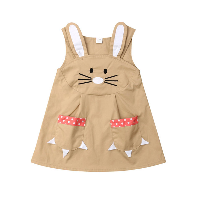 458de4313bdf2 1-5T Cute Toddler Kids Baby Girl Clothes Summer Easter Bunny Party Dress  Sundress Sleeveless