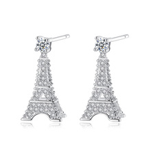 Silikolove Stereoscopic Eiffel Tower Stud Earrings Micro-inlaid Zircon Personality Simple Jewelry Accessories Boucle Doreille