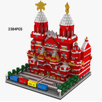 hot LegoINGlys creators city Street view Red square in Moscow Russia mini micro diamond building blocks model bricks toys gifts