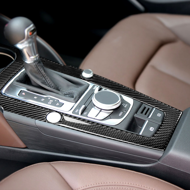 For Audi A3 2014 2015 2016 2017 Car Carbon Fiber Center Control Gear Shift Panel Cover