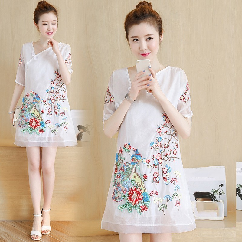 New Chinese Style Cheongsam Dress Women Girls Traditional Embroidery Vintage Loose QiPao Lolita A-Line Dresses Big Size
