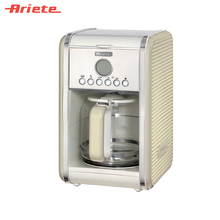 Капельная кофеварка Ariete Vintage 1342 цвет бежевый, прочная колба из закаленного стекла, LCD дисплей, система антикапля, съемная корзина для кофе, многоразовый фильтр, таймер 24 часа