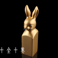 New Design 18KT Gold Plated Rabbit Shape Chinese Culture Scrapbooking Seal Stamps For Gift