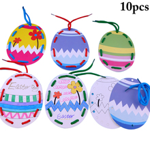10PCS Easter Hanging Ornament Egg Pendant Kindergarten Children Painting Coloring Paper Festival Decoration