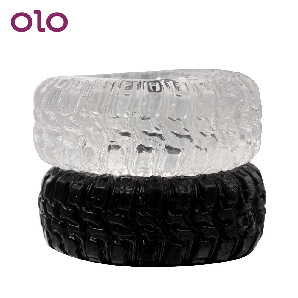 OLO 2 Pieces/Set Penis Rings Tire Type Cock Rings Sex Cockring Delay Ejaculation Adults Products Sex Toys For Men Silicone