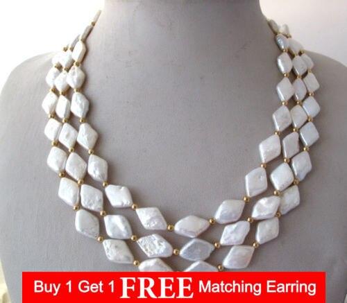 Lii Ji 3 brins naturel blanc losange collier de perles deau douce 925 argent Sterling couleur or 17-19Lii Ji 3 brins naturel blanc losange collier de perles deau douce 925 argent Sterling couleur or 17-19