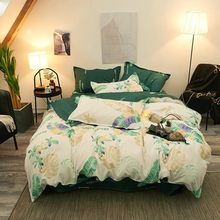 Modern Minimalist Banana Leaf Style Comforter Bedding Sets Linens Quilt Cover Bed Sheet Pillowcase Set King Queen Full Twin Size(China)