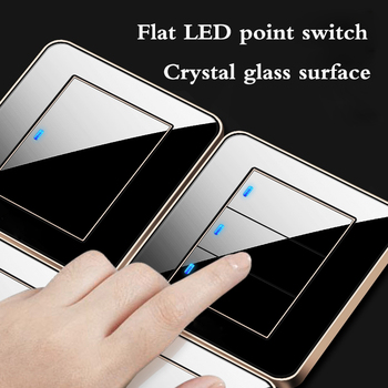 4.9 inch switch flat mirror glass home 86 wall concealed black 1 2 3 4 Gang 1  2 Way  Any click Turn on/off light 1