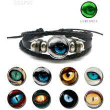 Green Light Luminous Bracelet Dragon Eye Glowing Picture Braided Black Leather Bracelet Fashion Jewelry Glow In The Dark Gifts(China)