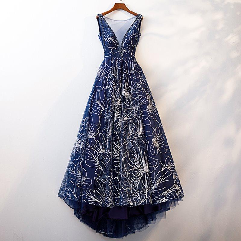 Dressv elegant dark blue v neck   evening     dress   a line sleeveless zipper up floor length wedding party formal   evening     dresses