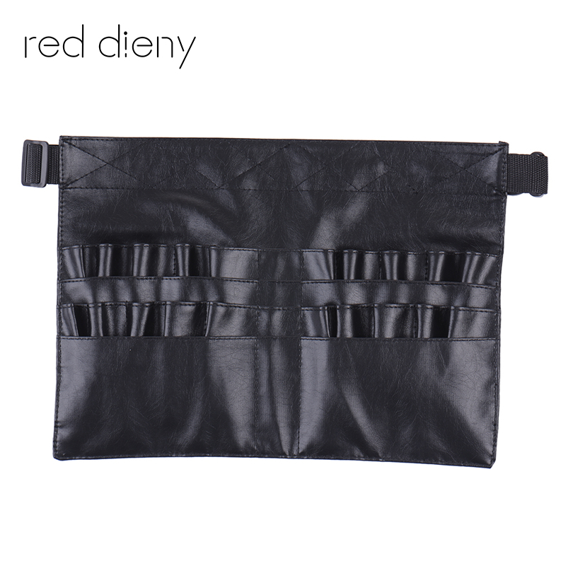 Black Two Arrays Makeup Brush Holder Professional PVC Apron Bag Artist Belt Strap Protable Make Up Bag Cosmetic Brush BagBlack Two Arrays Makeup Brush Holder Professional PVC Apron Bag Artist Belt Strap Protable Make Up Bag Cosmetic Brush Bag