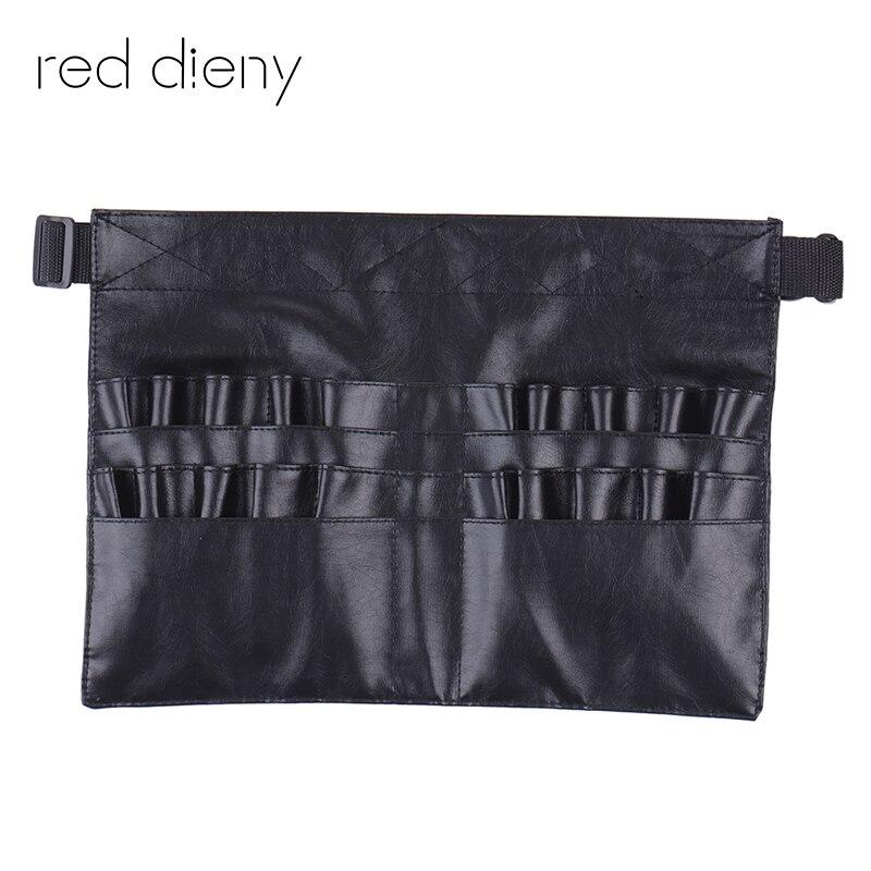 Schwarz Zwei Arrays Make-Up Pinsel Halter Professionelle PVC Schürze Tasche Künstler Gurtband Protable Schminktasche Kosmetik Pinsel Tasche