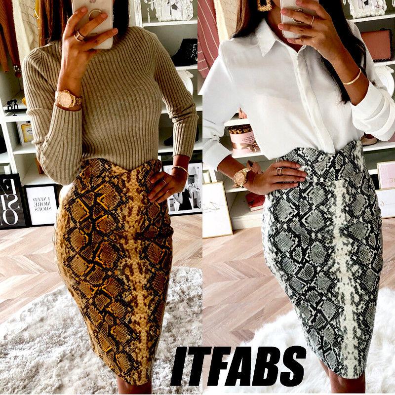 Snakeskin Sexy Bodycon Vintage Skirt Autumn Knee-Length Women Fashion High Waist Mini Pencil Snake Skin Skirts Dropshipping