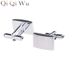 6 Pair Factory Wholesale Price Wire Drawing Rectangular Block Classic Cufflinks Best Man Party Cuff Links Male Business Gifts