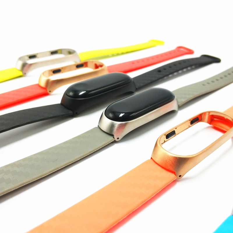 For <font><b>Xiaomi</b></font> Mi Band <font><b>2</b></font> 3 Straps <font><b>correa</b></font> Silicone band With Metal Case Smart Bracelet <font><b>Miband</b></font> 3 pulseira Replacement Sport Bands image