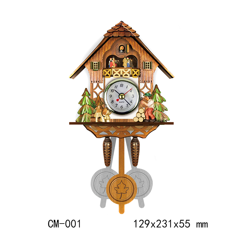 1Pc Antique Wall Clock Bird Time Bell Woodenboard Swing Alarm Watch Living Room Office Home Decoration