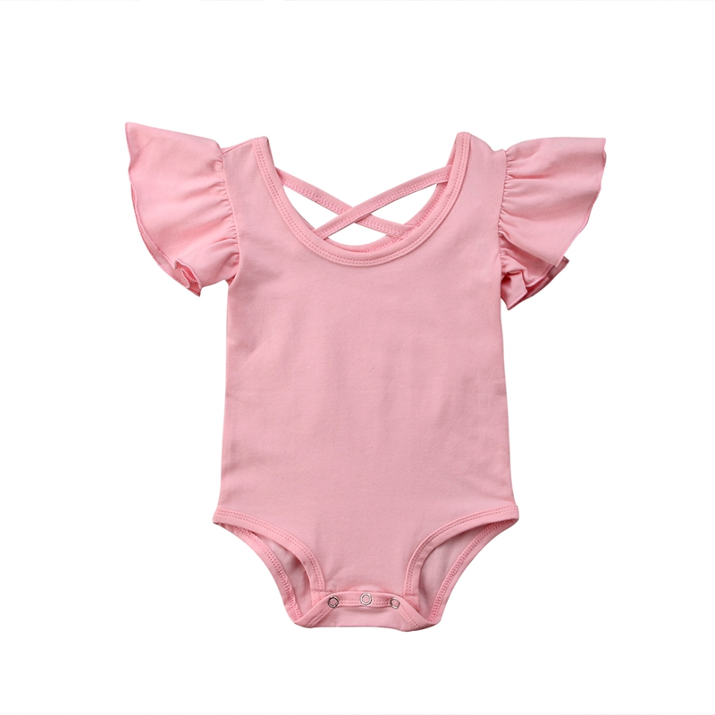 Newborn Infant Baby Girl Pure Color Ruffles Romper Back Cross Jumpsuit Cotton Sunsuit Summer Clothes Outfits