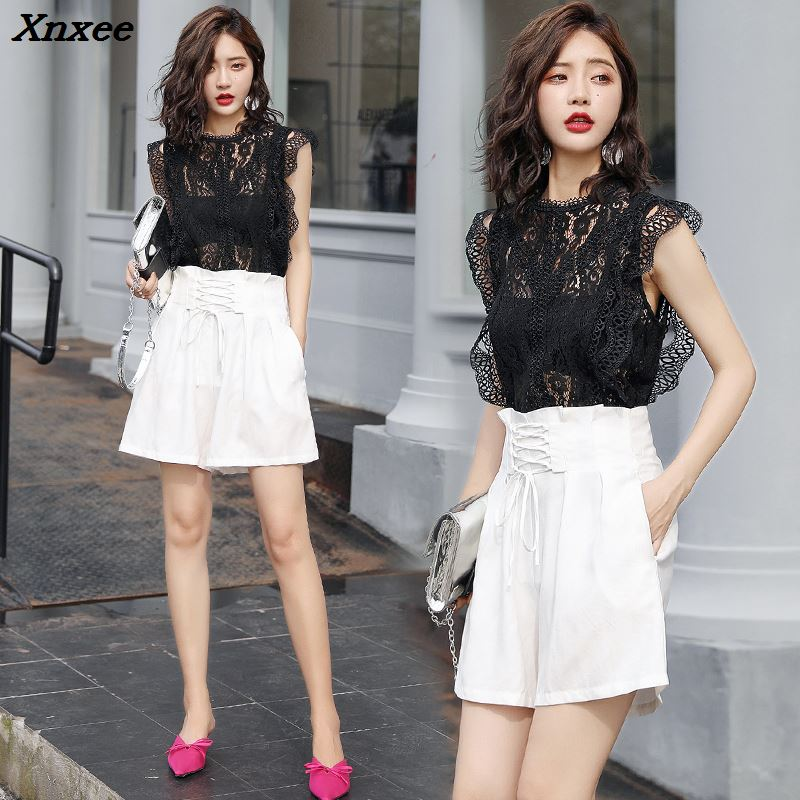 Summer lace   blouse     shirt   women sleeveless solid hollow out o neck sweet slim tops white black Xnxee