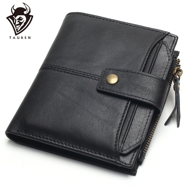 eb9135ca260b4 100% Genuine Leather Men Wallets Short Coin Purse Small Vintage Wallet  Cowhide Leather Card Holder