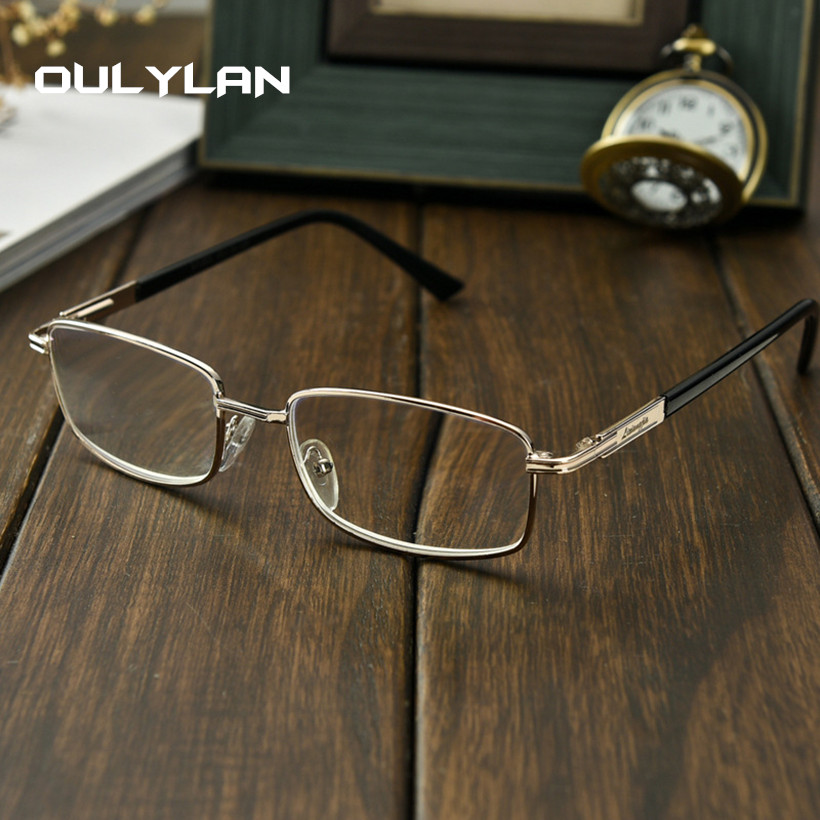Oulyan Finished Myopia Glasses Women Men Short-sighted Spectacles Square Metal Eyeglasses Diopter -1.0 1.5 <font><b>2.0</b></font> <font><b>2.5</b></font> 3.0 3.5 4.0 image