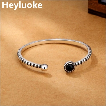 HEYLUOKE nueva llegada Retro joyería pulseras personalidad redondo negro gema Twist Wild exquisitos brazaletes
