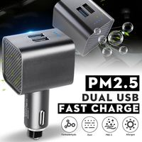 PM 2.5 Auto Car Air Anion Purifier Ionizer HEPA Filter Fast Charging 3.0 USB Odor Smoke Remover