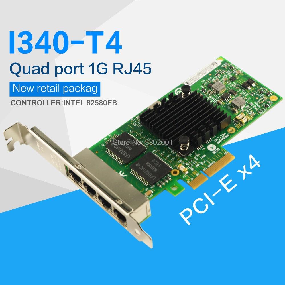 FANMI I340 T4 E1G44HT ギガビットイーサネットサーバアダプタインテル 82580EB PCI Express X4 1 グラムネットワークカード  グループ上の パソコン & オフィス からの ネットワークカード の中 1