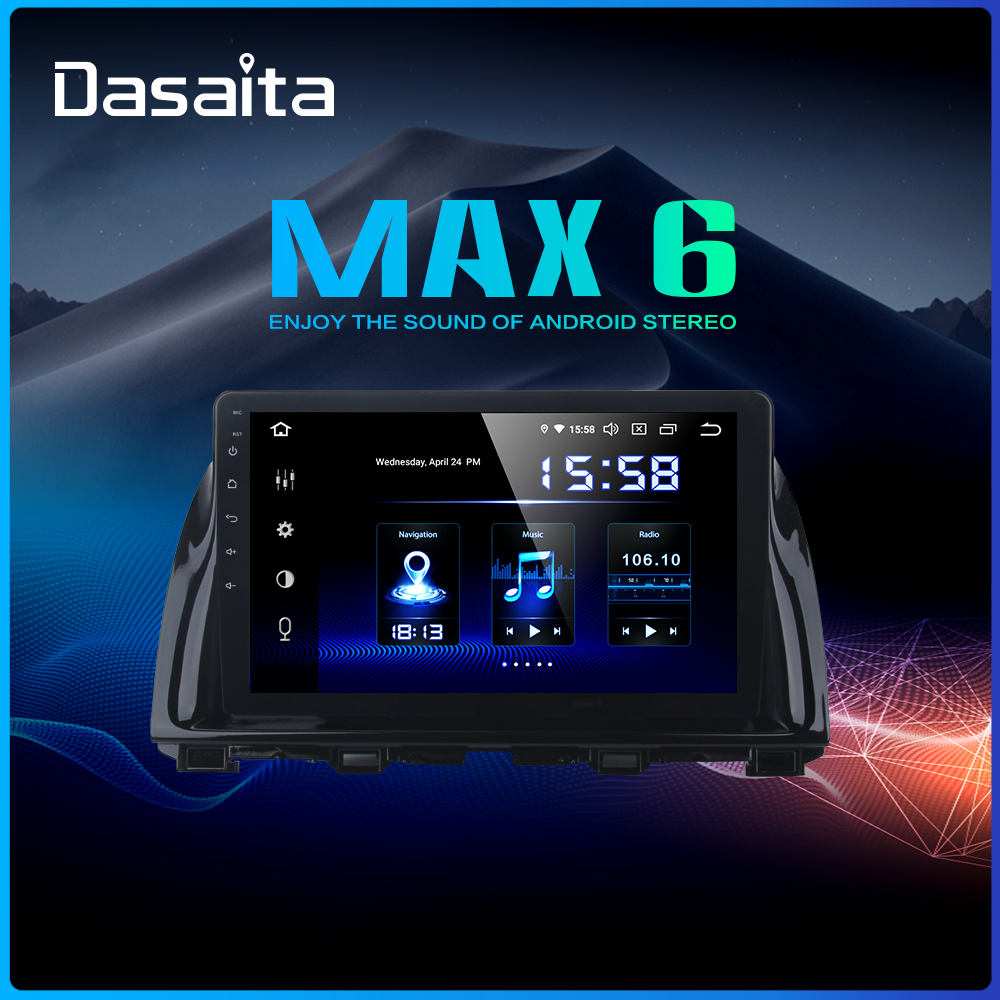 "Sale Dasaita 1 Din Android 9.0 Car Navigation GPS for Mazda CX5 CX-5 2013 2014 2015 DSP 64GB ROM 10.2"" IPS Touch Screen 0"