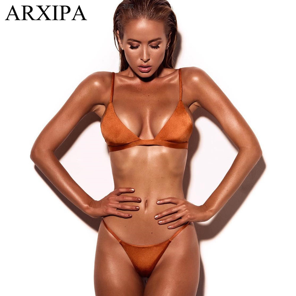 4f3d16d7a1 ARXIPA 2019 Sexy Micro Bikini Set Triangle Swimsuit Women Solid Swimwear  Thong Bathing Suit Mini Biquini