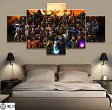 5 Panel Mortal Kombat Game Canvas Printed Painting Living Room Wall Decor Picture Artworks Poster Wholesale