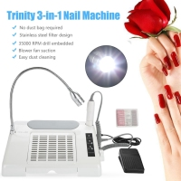 3 In 1 Nail Grind Polishing Drill Dust Collector Manicure Machine With Desk Lamp Nail Art Tools Accessories 65W