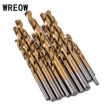 цена на 13pcs/set HSS Twist Drill Bit Titanium Coated Saw Drill Bit Set  Hole Saw Cutter for Woodworking Metal Platic Drilling Tools